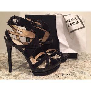 Herve Leger Sera strappy bandage sandals black